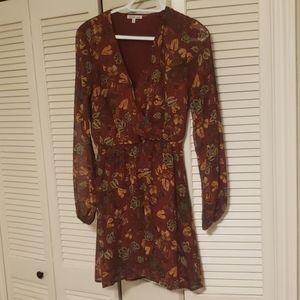 Long sleeve chiffon floral dress